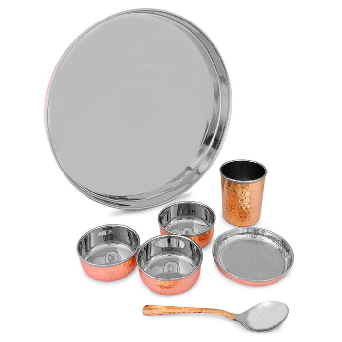 CROCKERY WALA & COMPANY Pure Copper and Steel Thali Dinner Set of 7 Pieces