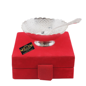 Crockery Wala And Company Silver Plated Designer Bowl with Spoon |150 ML| for Serving Dessert Home Hotel | Decorative Diwali Gift Item