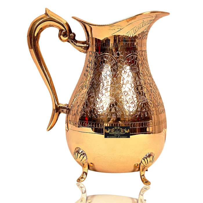 Crockery Wala & Company Handmade Brass Jug Pitcher with 4 Legs for Serving Drinking Water, Home Decor Gift Item (1750 ml)
