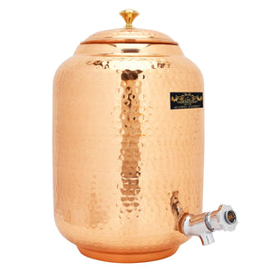 CROCKERY WALA AND COMPANY Jointless 12 Ltr Copper Water Dispenser and 4 Hammered Barrel Mugs