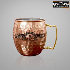 CROCKERY WALA AND COMPANY Jointless 16 Ltr Copper Water Dispenser and 4 Hammered Barrel Mugs
