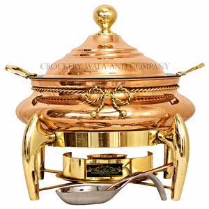 Crockery Wala And Company Pure Copper Kalai Chaffing Dish Plain Design With Serving Spoon and Fuel Gel Stand 8 L