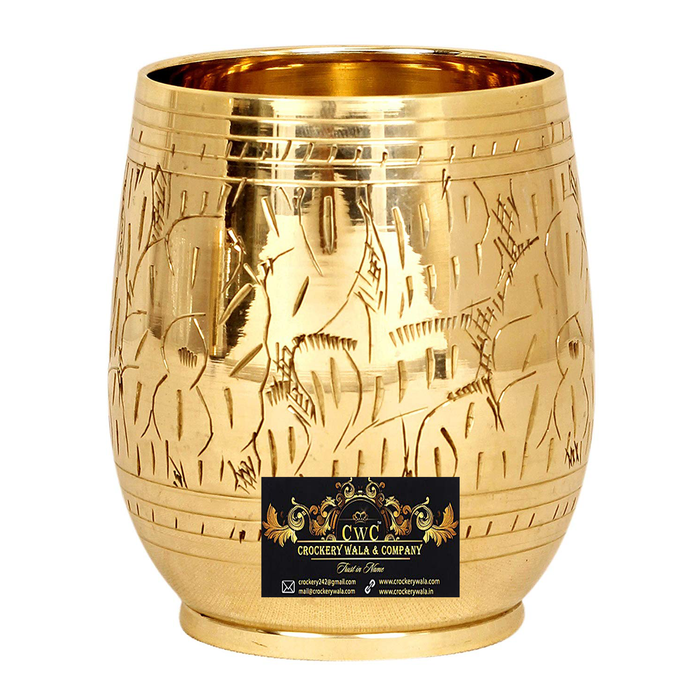 Crockery Wala And Company Brass Engraved Leaf Design Glass Tumbler, Drinkware & Tableware, 300 ML
