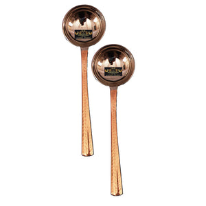 Crockery Wala & Company Set of 2 Steel Copper Serving Ladle Spoon | for Serving Soup Sauce Vegetables Home Hotel Restaurant