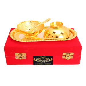 Crockery Wala & Company Silver Plated Gold Polished Bowl Set With 2 Spoons & 1 Tray, 100 Ml, Service For 2, Diwali Gift Item