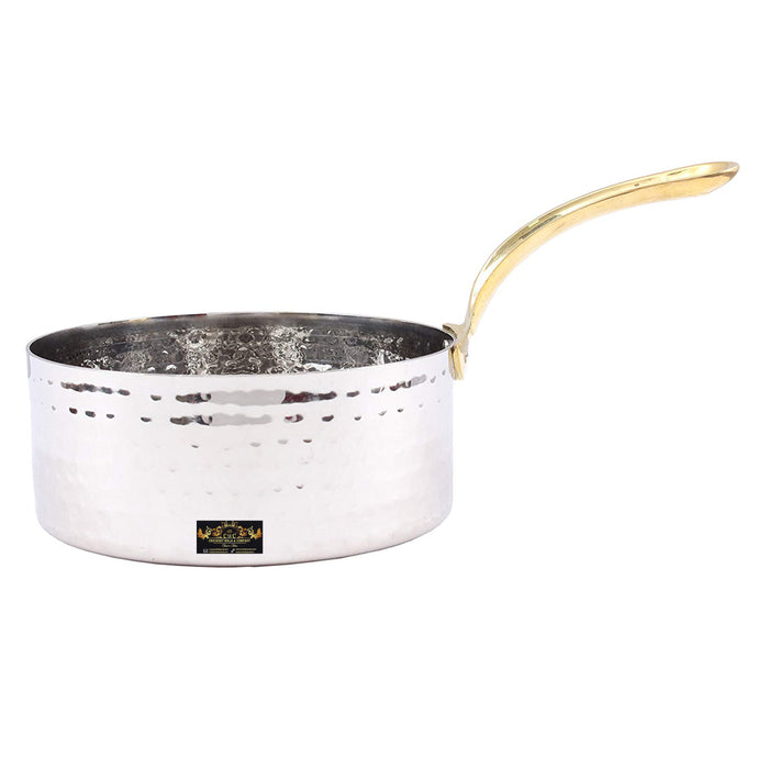 Crockery Wala & Company Silver Stainless Steel Fry Pan with Brass Handle (1000ml)
