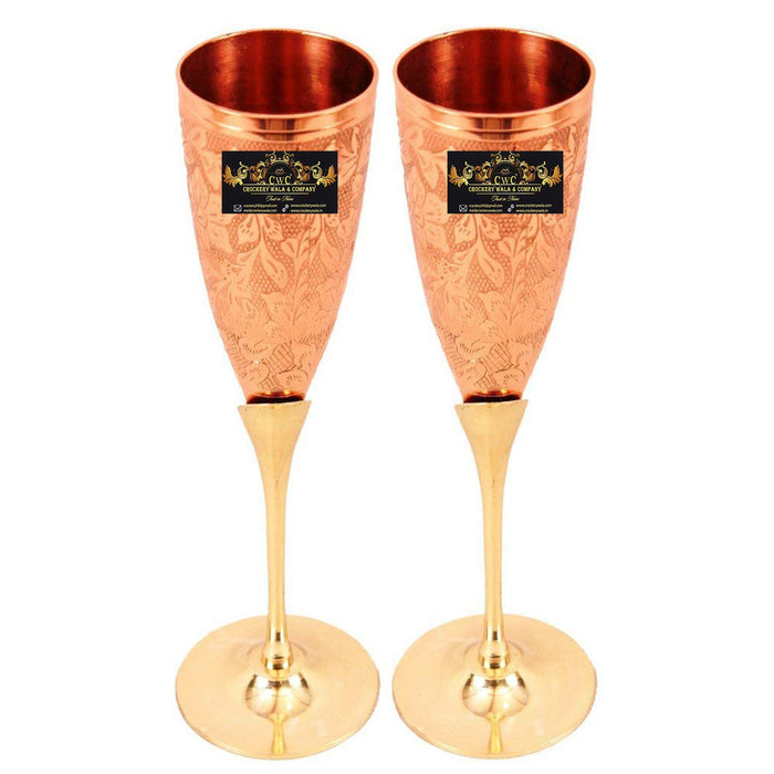 Crockery Wala & Company Embossed Goblet Design Copper Brass Flute Champagne Glass, Bar ware Set, 150 ml, Set Of 2