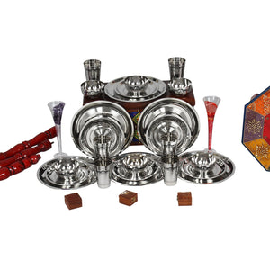 Crockery Wala And Company Stainless steel dinner set of 24 pcs( 6 Glasses, 6 Curry Bowl, 6 Quater Plate and 6 Full Plate) - Crockery Wala And Company