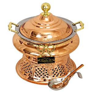 Crockery Wala And Company Copper Steel Chaffing Dish With Stand & Copper Steel Spoon 4 Liters
