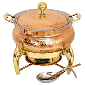 Crockery Wala And Company Pure Copper Kalai Chaffing Dish Hammered Design With Serving Spoon and Fuel Gel Stand 4000 ML