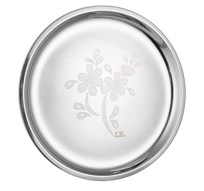 "Crockery Wala And Company Stainless Steel Laser Finish Full Plate 12"" Inches For Dinner Eating & Serving - Set Of 6 Pcs"