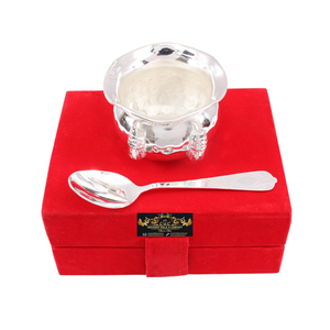Crockery Wala And Company  Silver Plated Set of 1 M Design Bowl with 1 Spoon | for Serving Dessert Icecream Home Hotel | Decorative Diwali Gift Item
