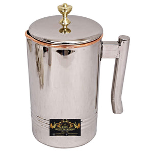 Crockery Wala & Company  Steel Copper Jug Pitcher with Brass Knob, Storage & Serving Water Home Restaurant, 1500 ML