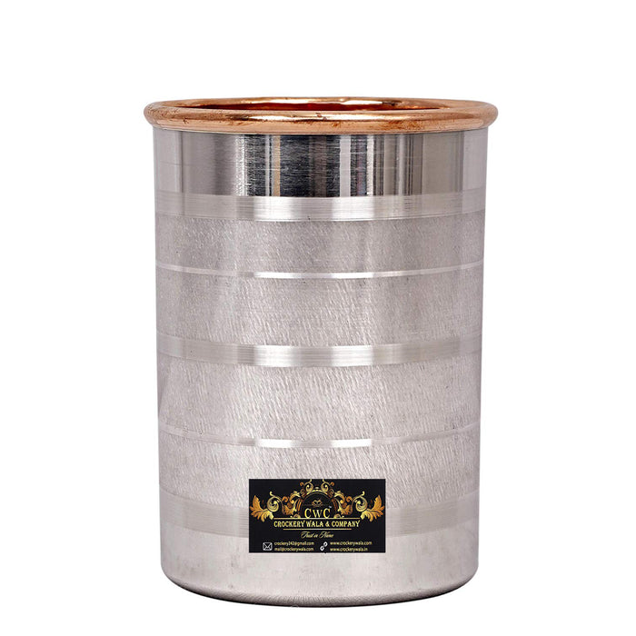 Crockery Wala & Company Copper and Silver Glass Tumbler, Drink ware and Serve ware, 250 ML