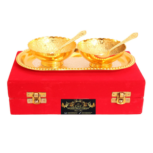 Crockery Wala & Company Silver Plated Gold Polished Bowl Set with 8 Spoons & 4 Tray, Set of 4, Diwali Gift Item