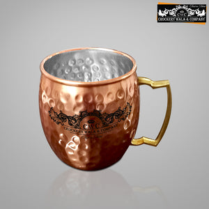 CROCKERY WALA AND COMPANY Jointless 8 Ltr Copper Water Dispenser and 4 Hammered Barrel Mugs