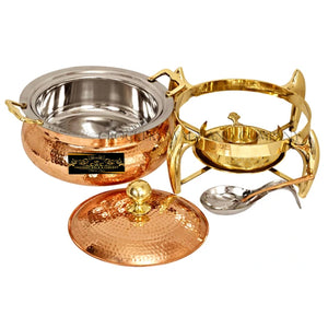 Crockery Wala And Company Pure Copper Kalai Chaffing Dish Hammered Design With Serving Spoon and Fuel Gel Stand 6000 ML