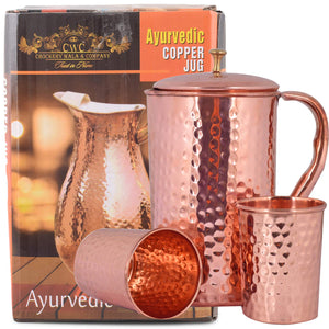 Crockery Wala And Company Pure Copper Hammered Jug 1600 ML Water Pitcher WIth 2 Hammered Glasses