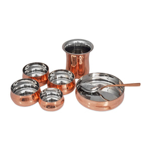 "CROCKERY WALA AND COMPANY Steel Copper Curved Thali Set Royal, 13"" of 8 pcs"