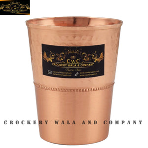 Crockery Wala And Company Copper Glass Tumbler 300 ML Glassware Pure Copper Glass Drinkware || Pack Of 1 Pc