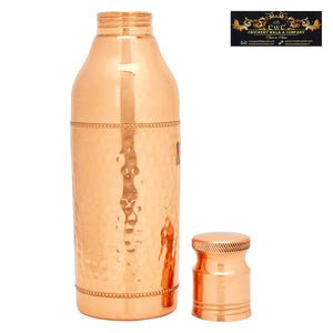 Crockery Wala And Company Pure Copper Water Bottle Champagne Bottle Hammered Design 800 ML