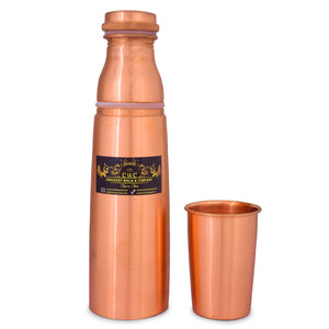 Crockery Wala And Company Pure Copper Water Bottle With Glass Cap Lid Water Bottle 1100 ML