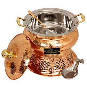 Crockery Wala And Company Copper Steel Chaffing Dish Hammered Design Chaffing Dish With Stand And Spoon 6 Liters