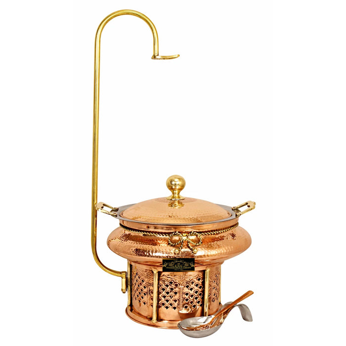 Crockery Wala And Company Copper Steel Chaffing Dish With Stand Hammered Copper Design 4 Liters