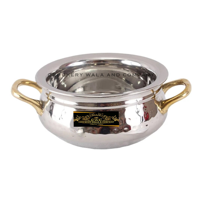 Crockery Wala And Company Steel Handi Hammered Design Bowl Handi For Serving With Brass Handles 400 ML