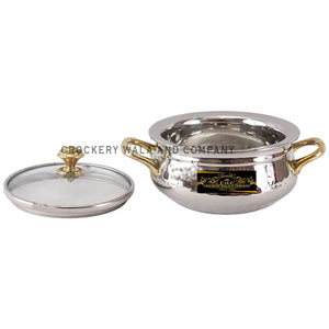 Crockery Wala And Company Steel Handi Hammered Stainless Steel Serving Handi With Glass Lid Brass Knob 450 ML