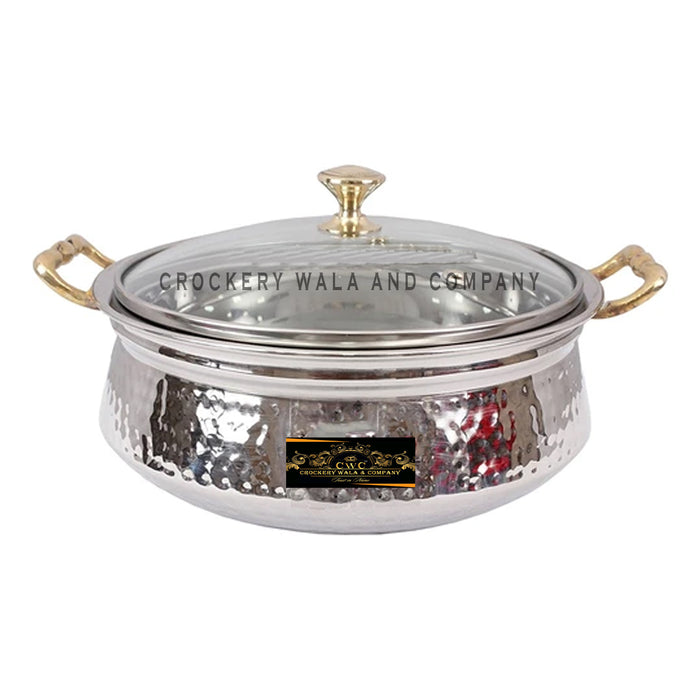 Crockery Wala And Company Stainless Steel Handi Hammered Design Royal Handi With Glass Lid Brass Handles 1500 ML