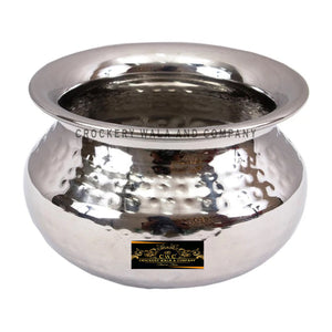 Crockery Wala And Company Stainless Steel Handi Hammered Design Punjabi Handi 400 ML