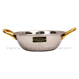 Crockery Wala And Company Stainless Steel Kadhai Bowl With Brass Handles For Serving Gravy, Curries 400 ML