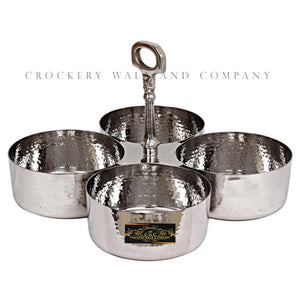 Crockery Wala And Company Stainless Steel Pickle Bowl Set Hammered Design Condimental Pickle Set With Handle 4 Containers
