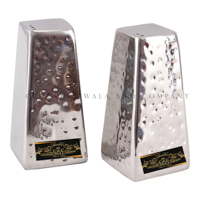 Crockery Wala And Company Pyramid Salt & Pepper Shaker Sprinkler Restaurant Tableware Hammered Finish