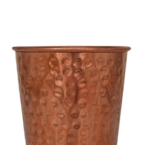 Crockery Wala And Company Pure Copper Hammered Glass 500 ML Copper Glass For Drinking & serving Water, Drinks, Beverages