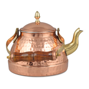 Crockery Wala And Company Copper Kalai Tea Kettle Copper Hammered Tea Kettle Pot With Wooden Handle For Cooking & Serving 1000 ml for 8- 10 cups
