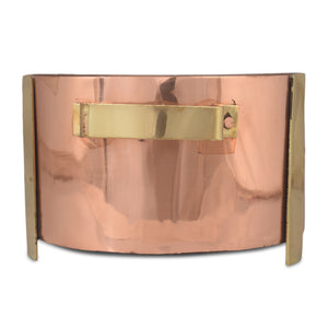 Crockery Wala And Company Copper Steel Hammered Snacks Warmer With Brass Handles Portable