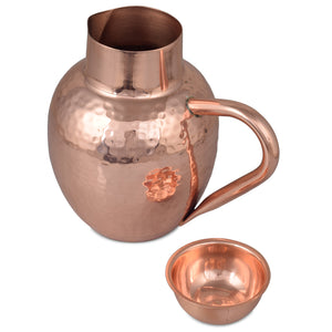 Crockery Wala And Company Copper Hammered Monarch Jug With Handle Water Pitcher Jar With Glass Lid 1500 ML