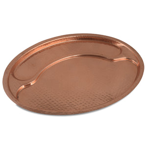 Crockery Wala And Company Copper Hammered Serving Plate Oval Serving Plate Serveware For serving Hotel & Home