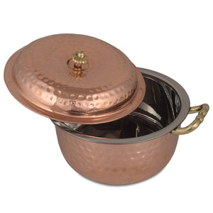 Crockery Wala And Company Copper Steel Donga Indian Serving Donga Chapatti CasseroleTableware For Home & Restaurant