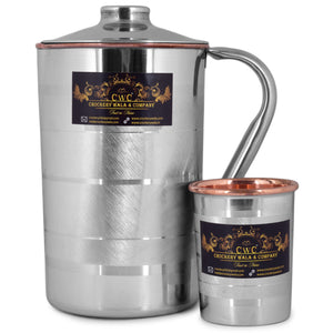 CROCKERY WALA AND COMPANY Steel Copper Jug Pitcher with Glass 1500 ml (Silver) - Crockery Wala And Company