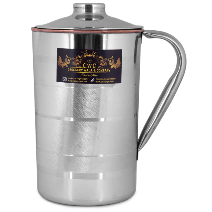 Crockery Wala And Company 1500 Ml Steel and Pure Copper Jug