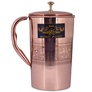 CROCKERY WALA AND COMPANY Embossed Pure Copper Jug , 1600 ml - Crockery Wala And Company