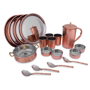Crockery Wala And Company Royal Steel Copper Dinner Set 24 pcs