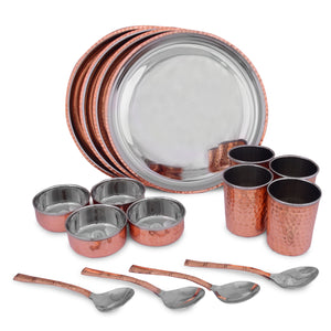 Crockery Wala And Company Royal Steel Copper Dinner Set 16 pcs