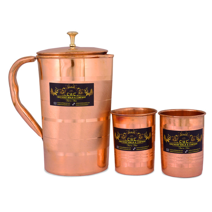 CROCKERY WALA AND COMPANY Copper Handmade Jug with Glass Cup Luxury -Set of 3