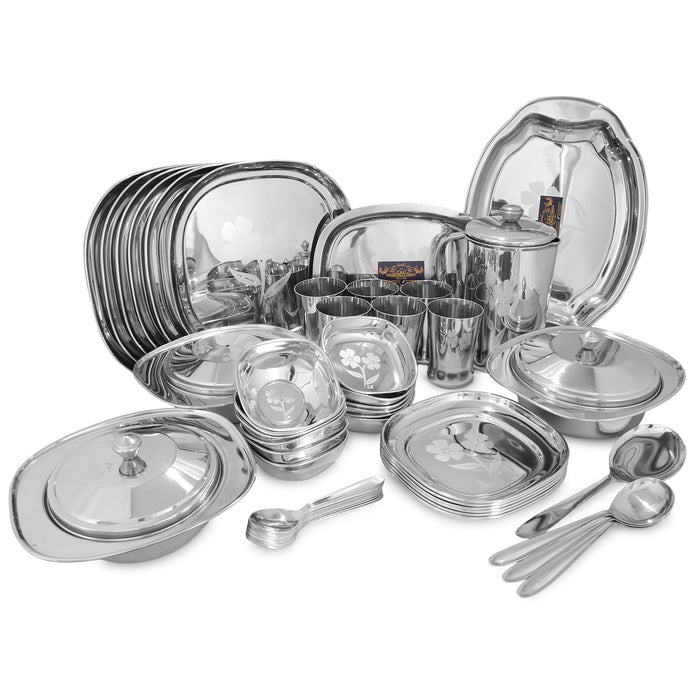 CROCKERY WALA AND COMPANY Laser Stainless Steel Dinner Set, 52 Piece, Square, Silver