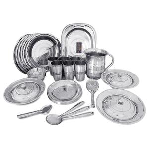 CROCKERY WALA AND COMPANY Stainless Steel Dinner Set, Silver -Set of 51 Piece - Crockery Wala And Company