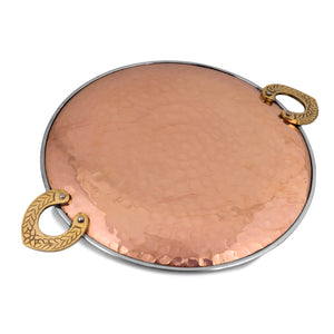 Crockery Wala And Company Copper Steel Tawa Platter for Serving Dishes, Snacks Home Restaurant Tava Serveware